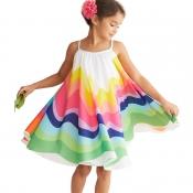 Lovely Trendy Rainbow Striped White Girl Knee Leng