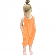 Lovely Trendy Pocket Patched Orange Girl One-piece Jumpsuit