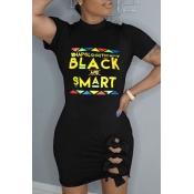 Lovely Casual Letter Print Black Mini Dress