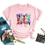 Lovely Leisure O Neck Print Pink T-shirt