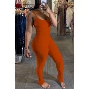 Lovely Trendy Fold Design Jacinth One-piece Jumpsuit