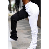 Lovely Casual Patchwork White Pants