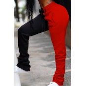 Lovely Casual Patchwork Red Pants