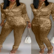Lovely Stylish Sequined Gold Plus Size One-piece J