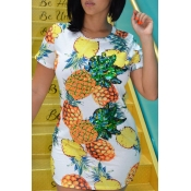 Lovely Casual Pineapple Print White Mini T-shirt D