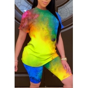 Lovely Leisure Tie-dye Yellow Two-piece Shorts Set