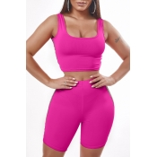 Lovely Sportswear Patchwork Rose Red Two-piece Shorts Set