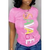 Lovely Casual Letter Print Pink T-shirt