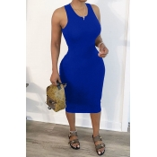 Lovely Leisure Hollow-out Blue Mid Calf Dress