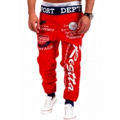 Lovely Sportswear Letter Red Pants