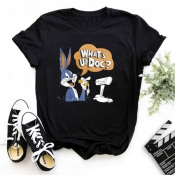 Lovely Leisure O Neck Cartoon Print Black T-shirt