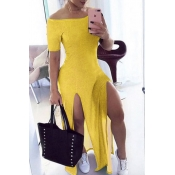 Lovely Stylish Side High Slit Yellow Maxi Dress