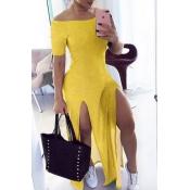 Lovely Stylish Side High Slit Yellow Maxi Dress
