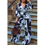 Lovely Trendy Print Black One-piece Jumpsuit