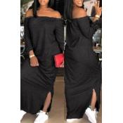 Lovely Casual Side Slit BlackAnkle Length Dress
