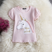Lovely Leisure O Neck Cartoon Print Pink Girl T-sh