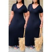 Lovely Casual V Neck Basic Black Ankle Length Dress