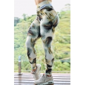 Lovely Sportswear Plants Print White Pants