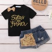 Lovely Stylish Letter Print Black Girl Two-piece Shorts Set