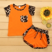 Lovely Stylish Patchwork Orange Girl Two-piece Shorts Set