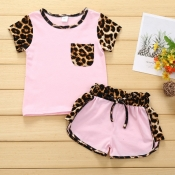 Lovely Stylish Patchwork Pink Girl Two-piece Short