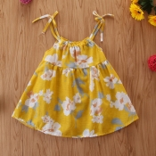 Lovely Sweet Floral Print Yellow Girl Knee Length