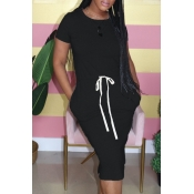 Lovely Casual O Neck Lace-up Black Knee Length Dre