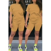 Lovely Casual Basic Apricot Two-piece Shorts Set