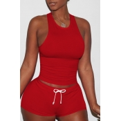 Lovely Sportswear Lace-up Red Two-piece Shorts Set