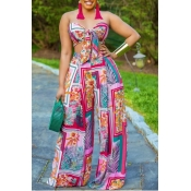 Lovely Bohemian Print Multicolor Two-piece Pants S