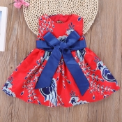 Lovely Stylish Print Red Girl Mid Calf Dress