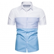 Lovely Casual Patchwork Skyblue Shirt