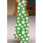 Lovely Casual Daisy Print Green Maxi Plus Size Dre