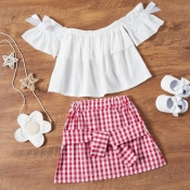 Lovely Sweet Grid Print White Girl Two-piece Skirt