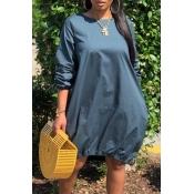 Lovely Casual O Neck Loose Dark Blue Knee Length Dress