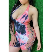 Lovely Sexy Tie-dye Pink One-piece Romper