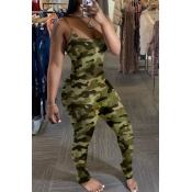 Lovely Trendy Camo Print Army Green One-piece Jump