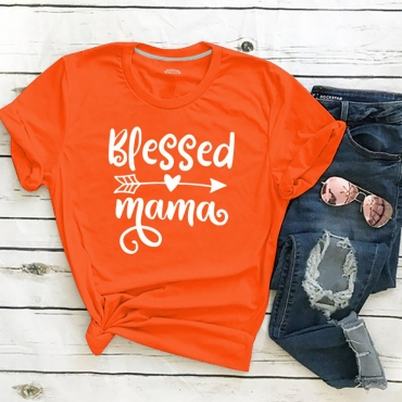Lovely Leisure O Neck Letter Print Orange Plus Size T-shirt