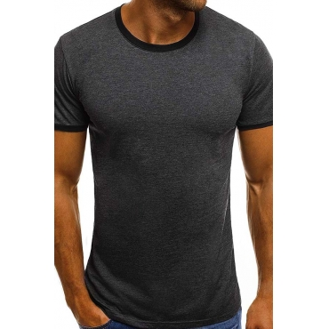 Lovely Casual O Neck Patchwork Dark Grey T-shirt
