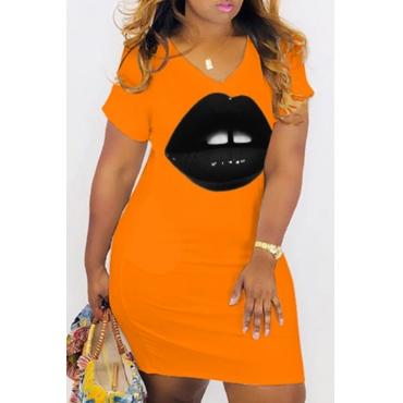 Lovely Leisure V Neck Lip Print Orange Knee Length T-shirt Dress