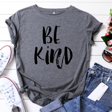 Lovely Leisure O Neck Letter Print Dark Grey Plus Size T-shirt