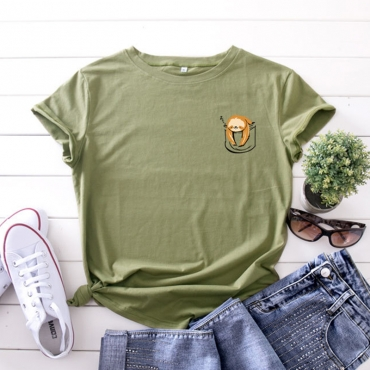 Lovely Casual O Neck Cartoon Print Army Green Plus Size T-shirt