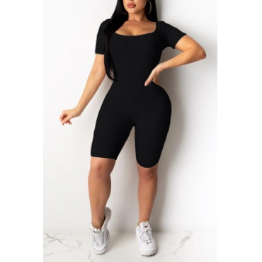 Lovely Casual Basic Skinny Black One-piece Romper