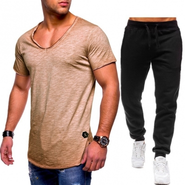 Lovely Casual V Neck Basic Khaki Two-piece Pants Set