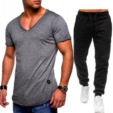 Lovely Casual V Neck Basic Grey Two-piece Pants Set