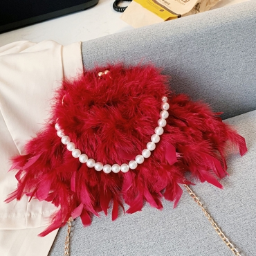 Lovely Sweet Chain Strap Red Crossbody Bag