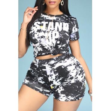 Lovely Leisure Print Black Plus Size Two-piece Shorts Set