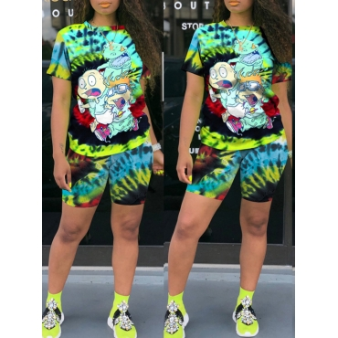 Lovely Casual Cartoon Print Black Two-piece Shorts Set