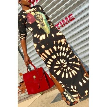 Lovely Casual O Neck Print Black Ankle Length Dress