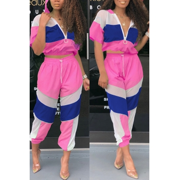 Lovely Casual Patchwork Rose Red Two-piece Pants Set